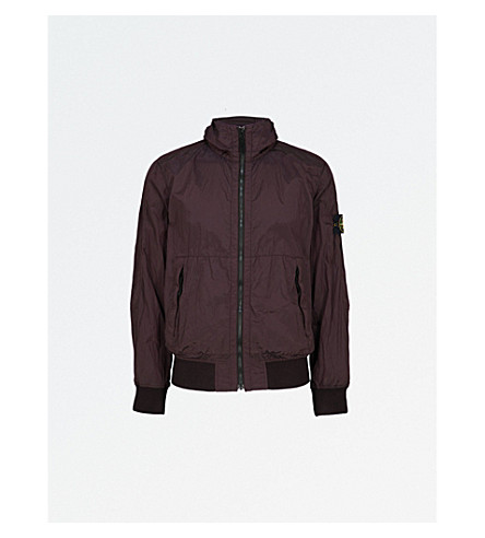 STONE ISLAND Crinkled shell jacket (Bordeaux