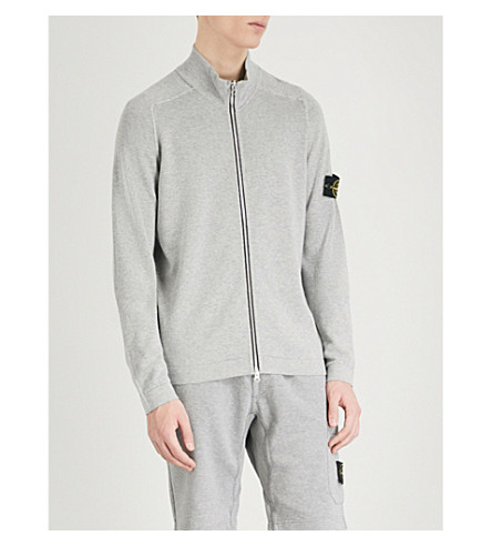 STONE ISLAND Full-zip cotton-jersey jumper (Grey