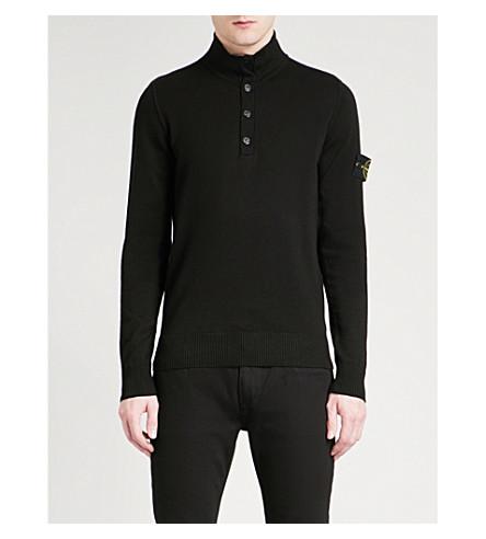 STONE ISLAND Funnel-collar cotton jumper (Black