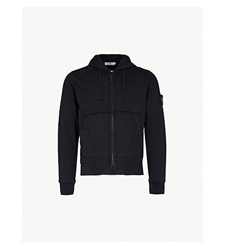 STONE ISLAND Zip 平纹针织棉帽衫 (黑色