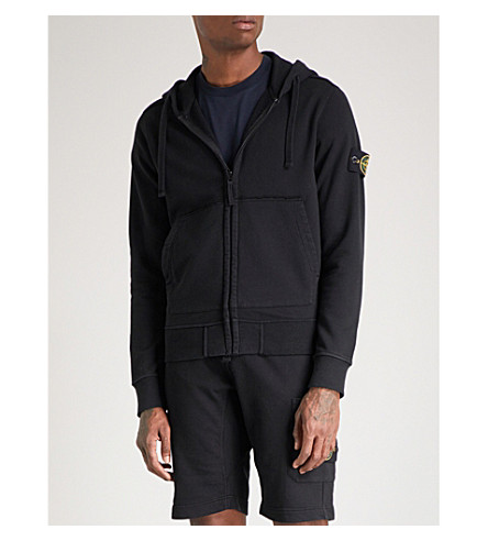 STONE ISLAND Zip-up cotton-jersey hoody (Black