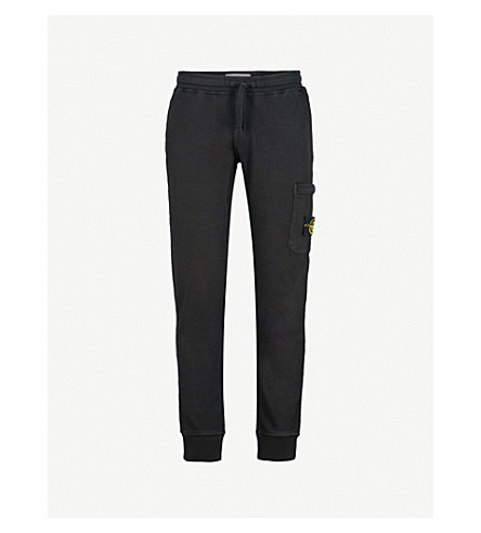STONE ISLAND Logo patch cotton-jersey jogging bottoms (Black