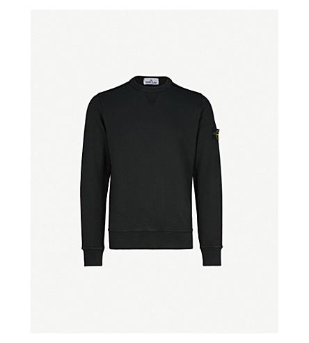 STONE ISLAND Patch-appliqué cotton-jersey sweatshirt (Black