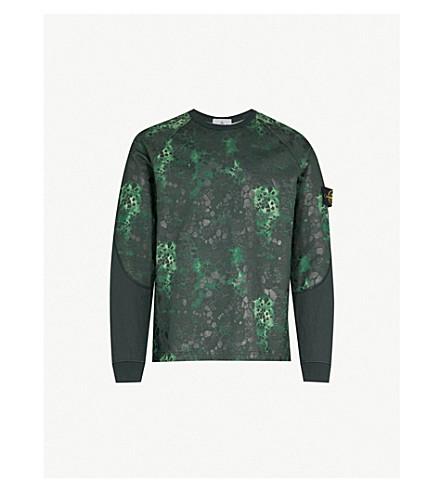 STONE ISLAND Alligator-camouflage cotton-jersey sweatshirt (Green