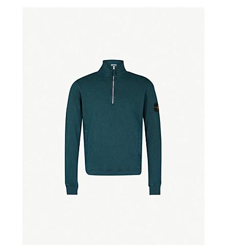 STONE ISLAND Quarter-zip cotton-jersey jumper (Green