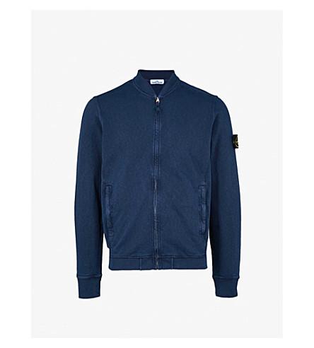 STONE ISLAND Washed cotton bomber jacket (Ink+blue