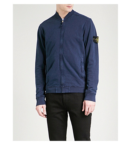 STONE ISLAND Washed cotton bomber jacket (Ink+blue