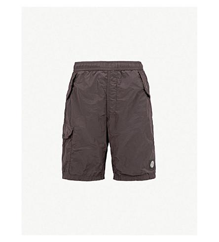 STONE ISLAND Logo-patch swim shorts (Bordeaux