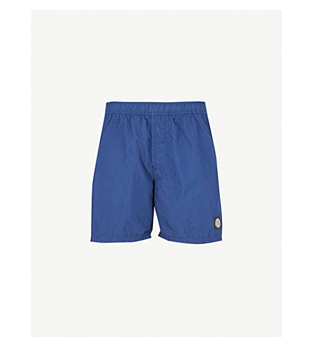 STONE ISLAND Mid-rise branded swim shorts (Ink+blue