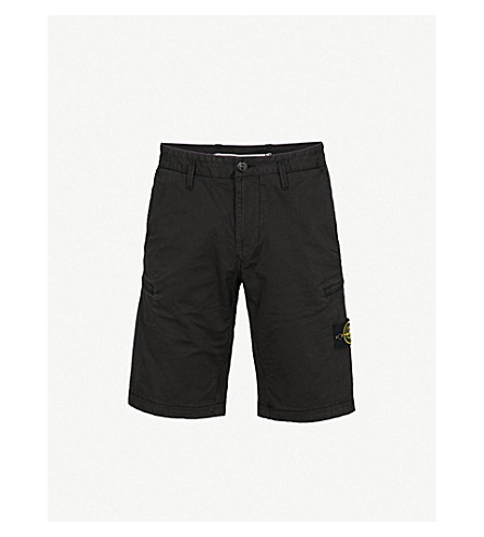 STONE ISLAND Logo-patch stretch-cotton shorts (Black