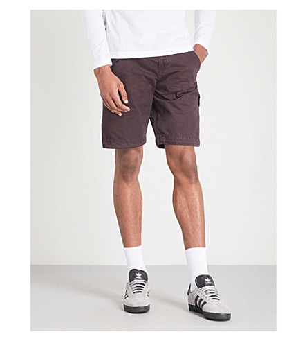 STONE ISLAND Logo-patch cotton shorts (Bordeaux
