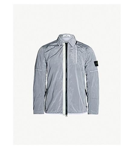 STONE ISLAND 徽标贴花软壳面料外套式衬衫 (冰