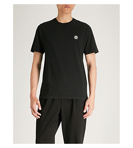 Logo cotton T STONE jersey ISLAND print Black shirt STONE ISLAND xnFBwxXtfa