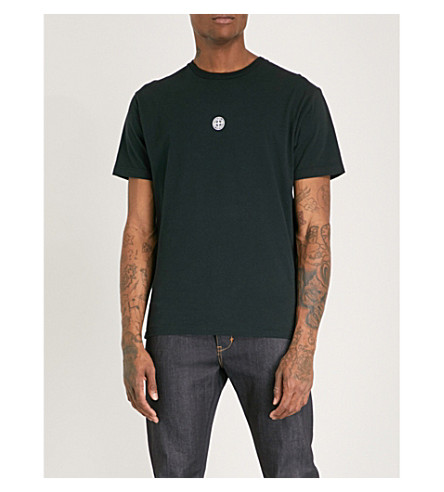 STONE ISLAND Logo-print cotton-jersey T-shirt (Black
