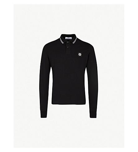STONE ISLAND Logo-embroidered slim-fit cotton-piqué shirt (Black