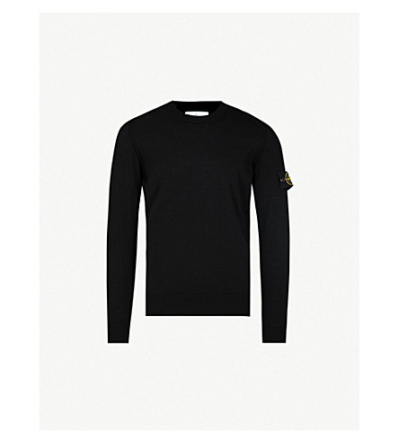 STONE ISLAND Logo patch-embroidered wool jumper (Black