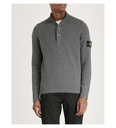 STONE ISLAND Funnel-neck wool jumper (Fumo+(grey)