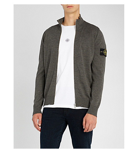 STONE ISLAND Logo-patch zip-through wool cardigan (Fumo+(grey)