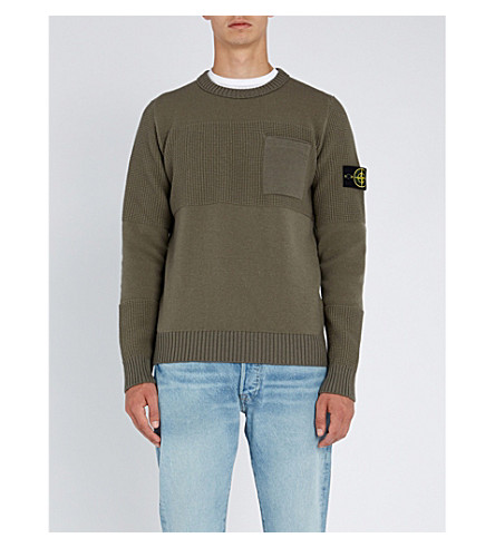 STONE ISLAND Textured-panel wool-blend sweater