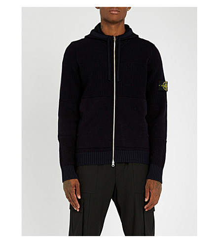 STONE ISLAND Logo-patched wool-blend hoody (Navy