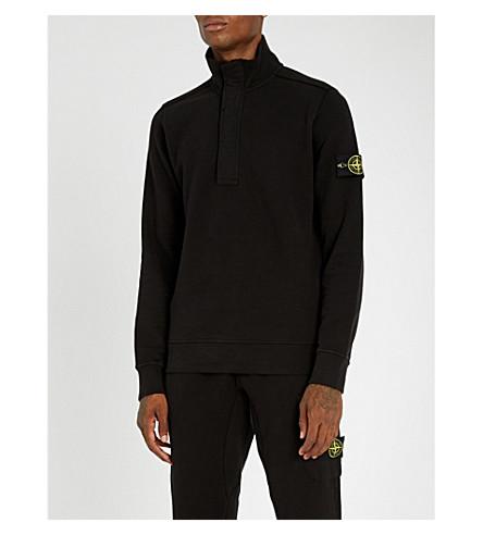 STONE ISLAND 半拉链平纹针织棉卫衣 (黑色