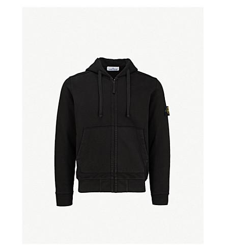 STONE ISLAND 标识刺绣平纹针织棉帽衫 (黑色