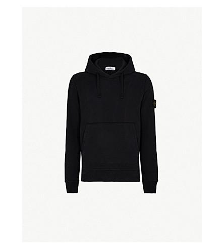STONE ISLAND 罗盘补丁平纹针织棉帽衫 (黑色