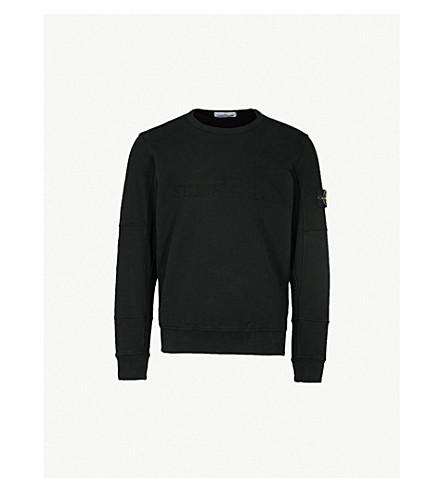 STONE ISLAND Logo-embroidered cotton-jersey sweatshirt (Black