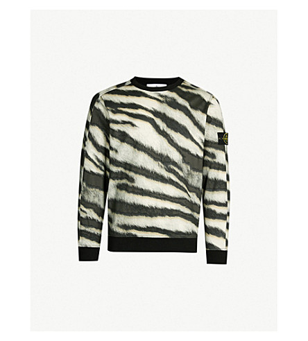 STONE ISLAND Tiger-print crewneck cotton-jersey sweatshirt (Beige