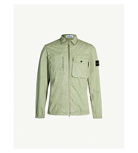 STONE ISLAND Brushed cotton twill jacket (Salvia (mint)