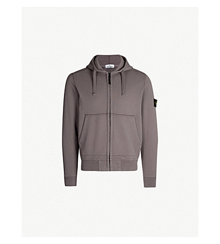 STONE ISLAND Badge sleeve cotton-jersey hoody (Peltro/grey