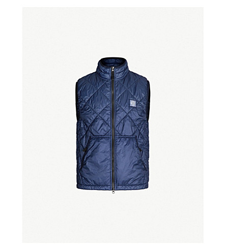STONE ISLAND Quilted shell gilet (Bleu marine/navy