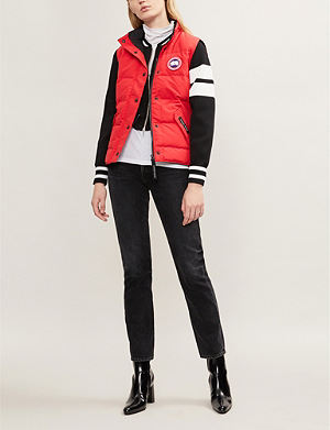 red canada goose gilet womens