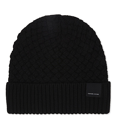 CANADA GOOSE Basket stitch wool hat (Black