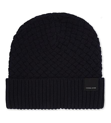 CANADA GOOSE Basket stitch wool hat (Navy