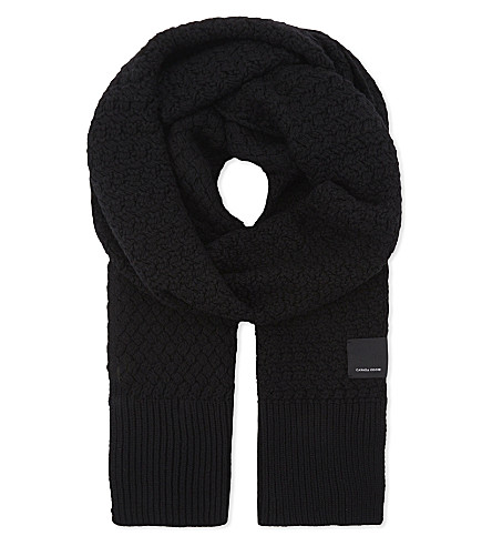 CANADA GOOSE Basket weave scarf (Black
