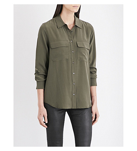 AG The Alena silk-crepe shirt (Climbing+ivy