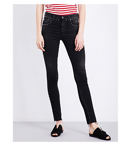 AG Studded-detail skinny high-rise stretch-denim jeans (4+years+linear+motion