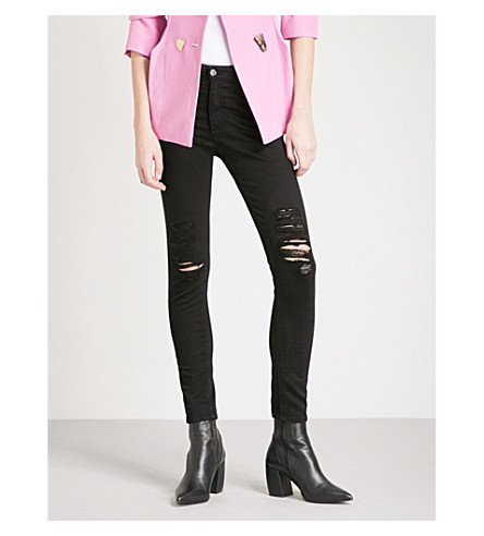 AG Farrah skinny high-rise jeans (5+years+black+destructed