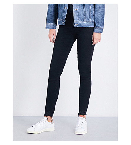 AG The Farrah super-skinny mid-rise jeans (Black+storm