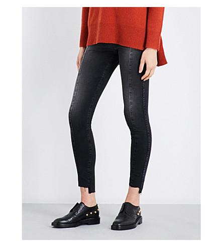 AG Farrah stepped-hem super-skinny high-rise jeans (13+years+dusty+black