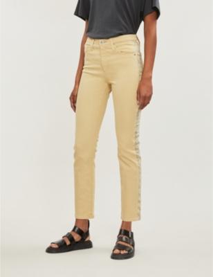 Isabelle snakeskin-print panel straight high-rise jeans