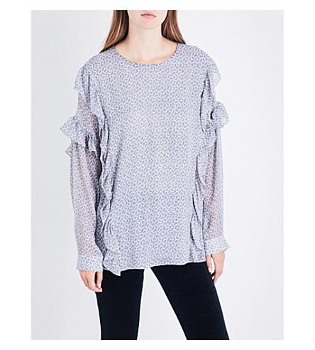 AG The Bijou silk-blend top (Soft+indigo+/+dayglow