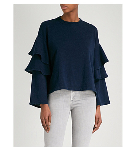 AG The Pearl Ruffle cotton-jersey sweatshirt (Dark+indigo