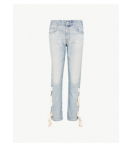 AG The Ex-Boyfriend laced slim-fit mid-rise jeans (22year seafaring lace up