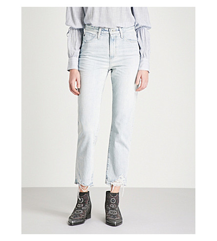 AG The Phoebe distressed frayed-hem tapered high-rise jeans (Bering+wave