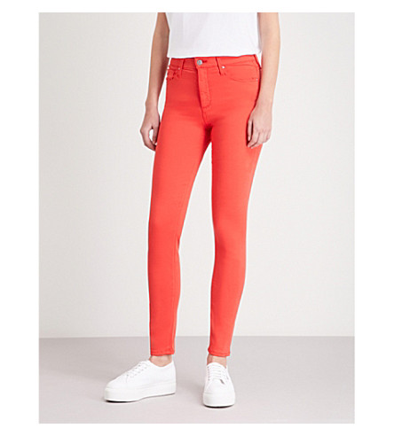 AG The Farrah skinny high-rise jeans (Red+poppy