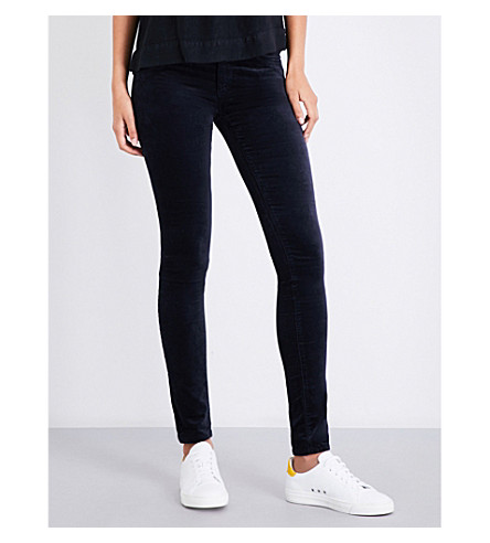 AG The Legging super-skinny low-rise velvet jeans (Dark+sky