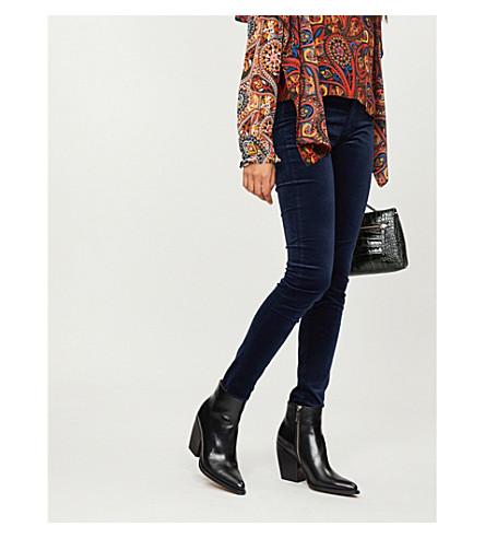 AG Farrah skinny high-rise velvet jeans (Blue+night