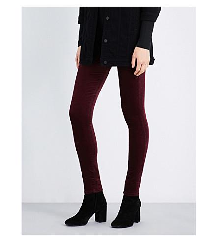 AG Farrah super-skinny high-rise velvet jeans (Deep+currant